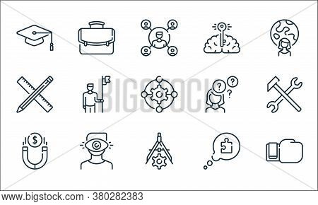 Life Skills Line Icons. Linear Set. Quality Vector Line Set Such As Boxing Glove, Divider, Magnet, S