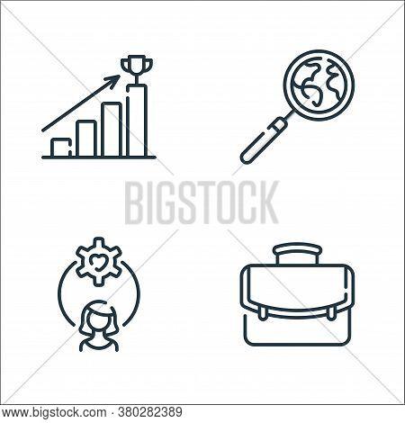 Life Skills Line Icons. Linear Set. Quality Vector Line Set Such As Portfolio, Woman, Magnifying Gla