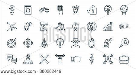 Life Skills Line Icons. Linear Set. Quality Vector Line Set Such As Portfolio, Gear, Man, Dialogue,