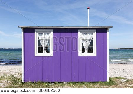 Colored Beach Hut In Aeroskobing, Aero Island, Denmark