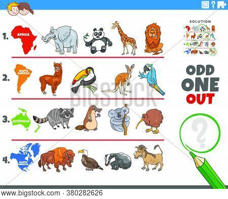 Cartoon Illustration Of Odd One Oute Picture In A Row Educational Game For Elementary Age Or Prescho