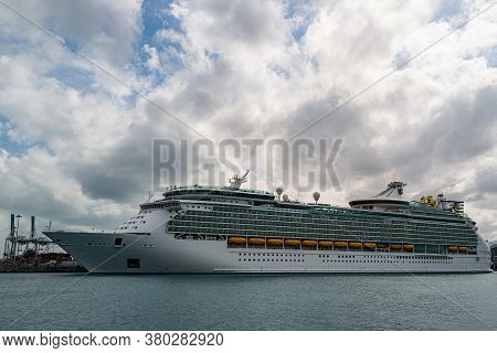 Miami, Florida, Usa - May, 2020: Big White Cruise Ship Docked At The Port Of Miami. Large Luxury Cru