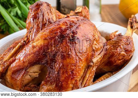 A Turkey Roasted In A Bowl, For Thanksgiving Day And Christmas Dinner.