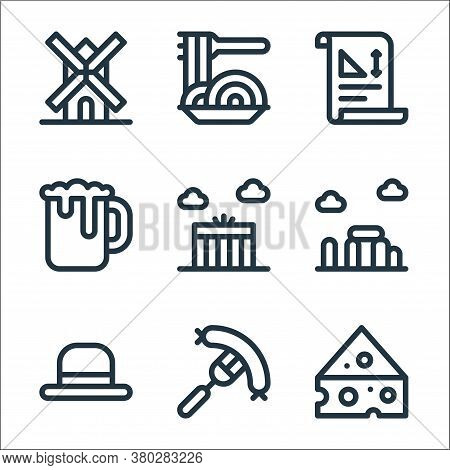 Europe Line Icons. Linear Set. Quality Vector Line Set Such As Cheese, Sausage, Bowler Hat, Stonehen