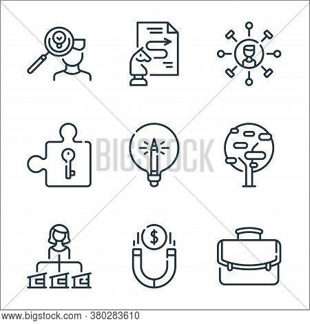 Life Skills Line Icons. Linear Set. Quality Vector Line Set Such As Portfolio, Magnet, Woman, Tree,