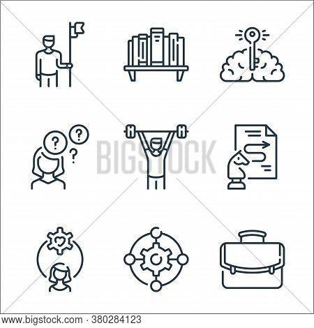Life Skills Line Icons. Linear Set. Quality Vector Line Set Such As Portfolio, Gear, Woman, Process,