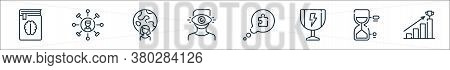 Life Skills Line Icons. Linear Set. Quality Vector Line Set Such As Bars, Hourglass, Trophy, Speech
