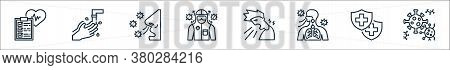 Coronavirus Line Icons. Linear Set. Quality Vector Line Set Such As Coronavirus, Insurance, Breathin