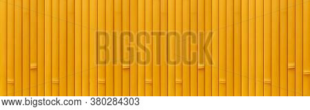Panorama Of Bamboo Wall Or Bamboo Fence Texture. Old Brown Tone Natural Bamboo Fence Texture Backgro