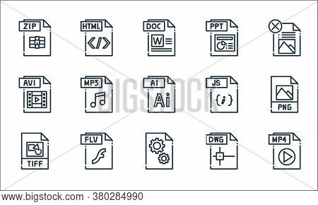 File Type Line Icons. Linear Set. Quality Vector Line Set Such As Mp File, Dll File, Tiff, Dwg Flv A