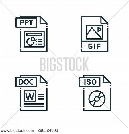 File Type Line Icons. Linear Set. Quality Vector Line Set Such As Iso File, Doc File, Gif