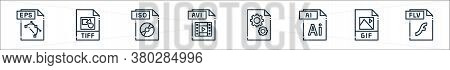 File Type Line Icons. Linear Set. Quality Vector Line Set Such As Flv File, Gif File, Ai Dll Avi Iso