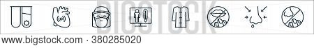 Stop Virus Line Icons. Linear Set. Quality Vector Line Set Such As Nose, Runny Nose, Lips, Bathrobe,