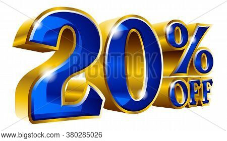 20% Off - Twenty Percent Off Discount Gold And Blue Sign. Vector Illustration. Special Offer 20 % Of