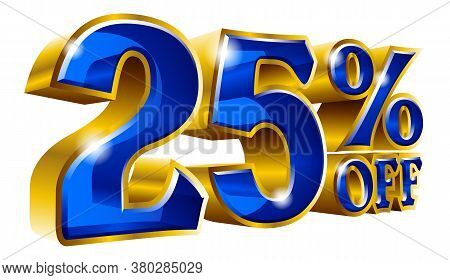 25% Off - Twenty Five Percent Off Discount Gold And Blue Sign. Vector Illustration. Special Offer 25