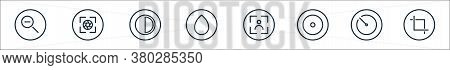 Camera Line Icons. Linear Set. Quality Vector Line Set Such As Crop, Timer, Record, Camera, Brush, C