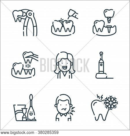 Dental Care Line Icons. Linear Set. Quality Vector Line Set Such As Sensitivity, Toothache, Kids, El