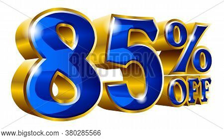85% Off - Eighty Five Percent Off Discount Gold And Blue Sign. Vector Illustration. Special Offer 85