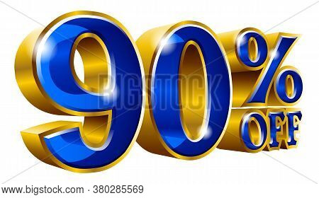 90% Off - Ninety Percent Off Discount Gold And Blue Sign. Vector Illustration. Special Offer 90 % Of