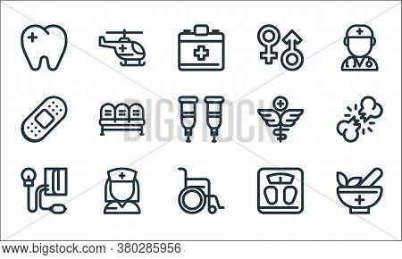 Medical Tools Line Icons. Linear Set. Quality Vector Line Set Such As Mortar, Wheelchair, Blood Pres