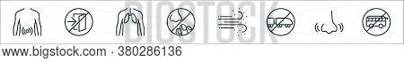 Stop Virus Line Icons. Linear Set. Quality Vector Line Set Such As Bus, Nose, Train, Dust, Nose, Hum