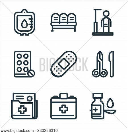 Medical Tools Line Icons. Linear Set. Quality Vector Line Set Such As Syrup, Emergency Kit, Document