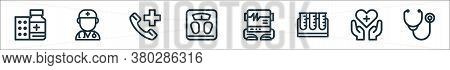 Medical Tools Line Icons. Linear Set. Quality Vector Line Set Such As Phonendoscope, Healthcare, Tes