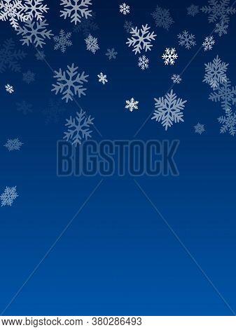 Winter Snowflakes Border Trendy Vector Background.  Macro Snowflakes Flying Border Design, Holiday C