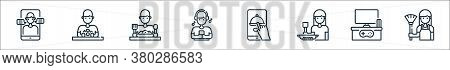 Stay At Home Line Icons. Linear Set. Quality Vector Line Set Such As Broom, Joystick, Cooking, Onlin