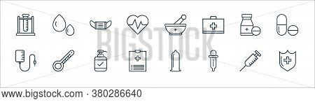 Medical Tools Line Icons. Linear Set. Quality Vector Line Set Such As Medical Shield, Pipette, Medic