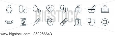 Medical Tools Line Icons. Linear Set. Quality Vector Line Set Such As Virus, Test Tube, Medical Shie