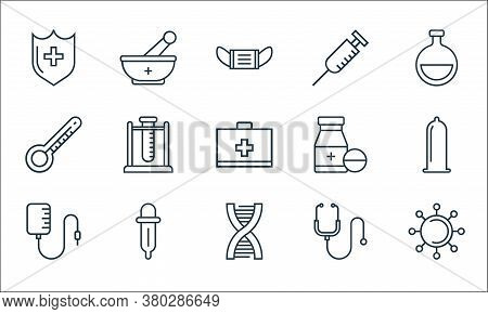 Medical Tools Line Icons. Linear Set. Quality Vector Line Set Such As Virus, Dna, Blood Transfusion,