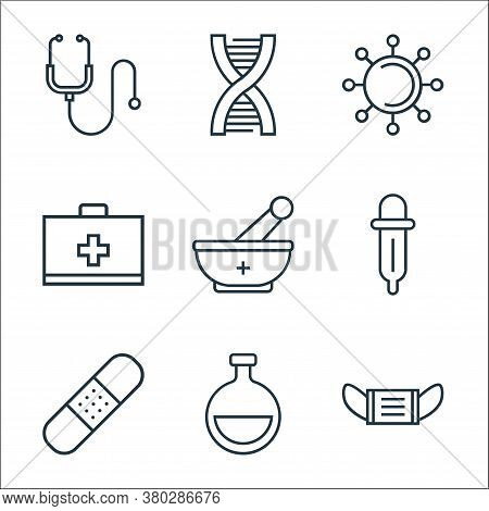 Medical Tools Line Icons. Linear Set. Quality Vector Line Set Such As Mask, Flask, Band Aid, Pipette