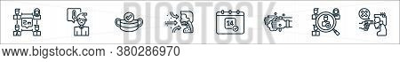 Flat Coronavirus Line Icons. Linear Set. Quality Vector Line Set Such As Fever, Human Resources, Han