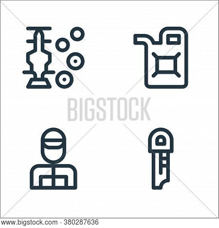 Auto Racing Line Icons. Linear Set. Quality Vector Line Set Such As Key, Racer, Fuel