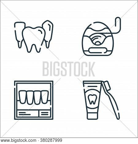 Dental Care Line Icons. Linear Set. Quality Vector Line Set Such As Toothpaste, X Ray, Dental Floss