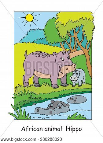 Vector Coloring Pages With Cute Hippo Family In African Area. Cartoon Colorful Illustration Isolated