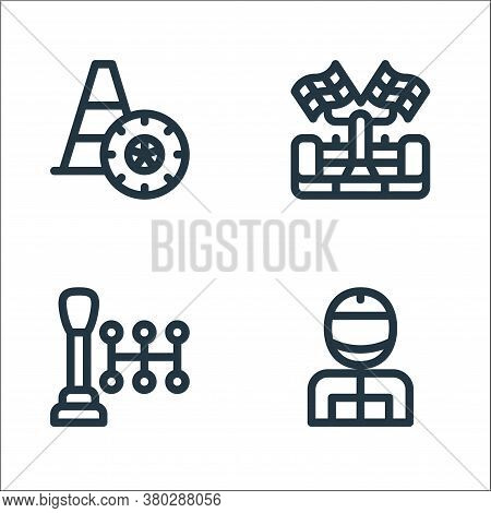 Auto Racing Line Icons. Linear Set. Quality Vector Line Set Such As Racer, Gear Shift, Racing Car