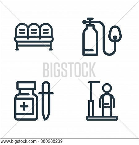 Medical Tools Line Icons. Linear Set. Quality Vector Line Set Such As Height, Drop Medicine, Oxygen