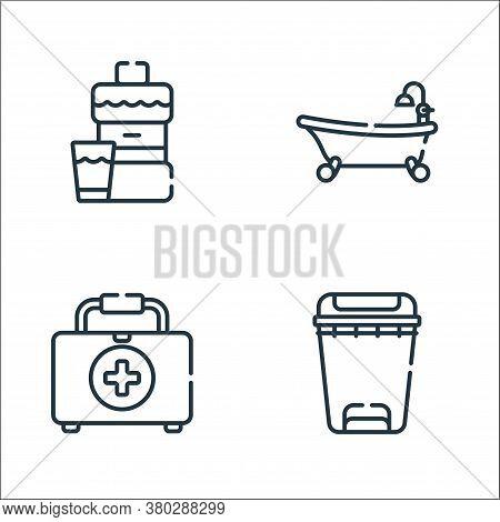 Bathroom Line Icons. Linear Set. Quality Vector Line Set Such As Bin, First Aid Kit, Bathtub