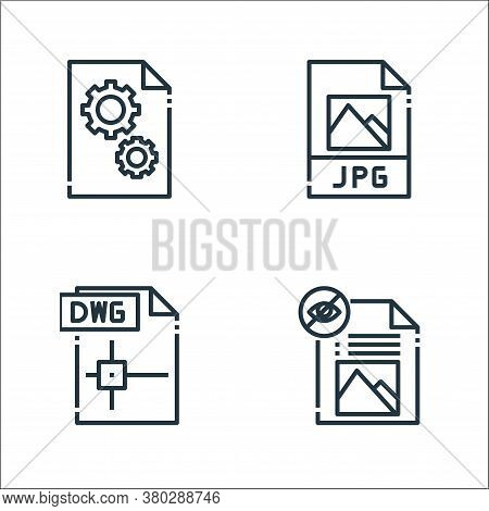 File Type Line Icons. Linear Set. Quality Vector Line Set Such As File, Dwg File, Jpg