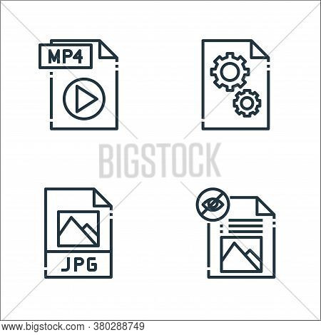 File Type Line Icons. Linear Set. Quality Vector Line Set Such As File, Jpg File, Dll