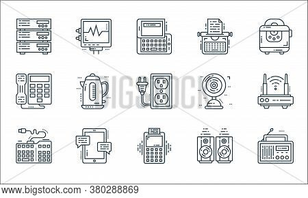 Technology Devices Line Icons. Linear Set. Quality Vector Line Set Such As Radio, Pos Terminal, Keyb