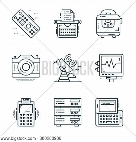 Technology Devices Line Icons. Linear Set. Quality Vector Line Set Such As Keyboard, Server, Pos Ter