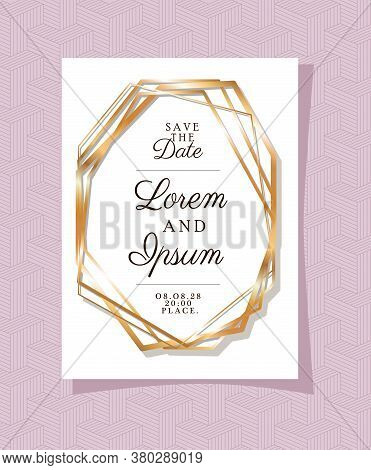 Save The Date Text In Gold Frame Design, Wedding Invitation And Engagement Theme Vector Illustration
