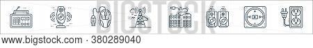 Technology Devices Line Icons. Linear Set. Quality Vector Line Set Such As Extension Cord, Multimedi
