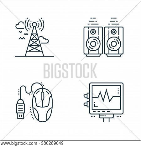 Technology Devices Line Icons. Linear Set. Quality Vector Line Set Such As Electrocardiogram, Mouse,
