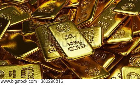 Stack Of  Shiny Gold Bars  3D Illustration