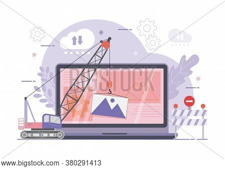 An Illustration Of Site Under Construction. Web Page Building Process. Modern Vector Illustration Co