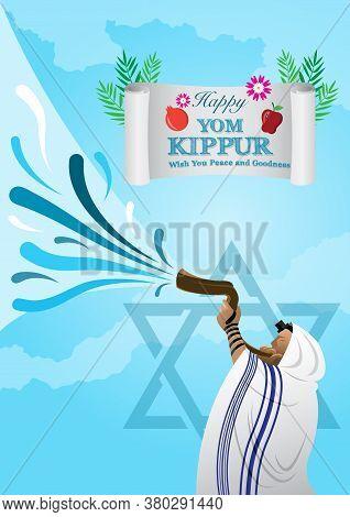 An Illustration Of Jewish Man Blowing The Shofar Ram's Horn On Rosh Hashanah And Yom Kippur Celebrat